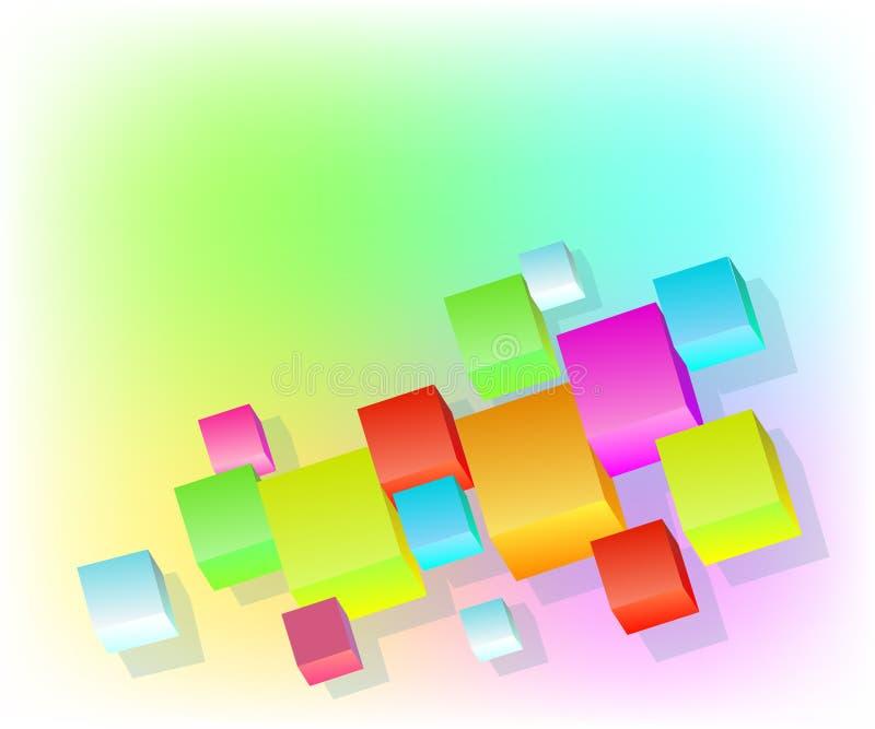 与容量多彩多姿的立方体3d的背景 也corel凹道例证向量 皇族释放例证