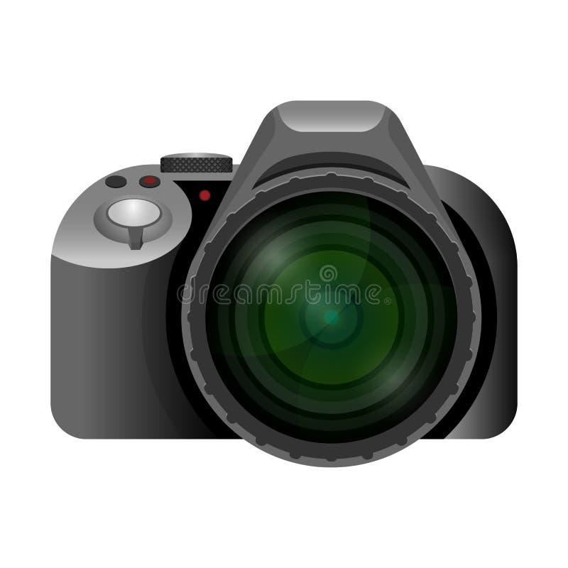 与宽短的透镜的专业现代数字照相机 向量例证