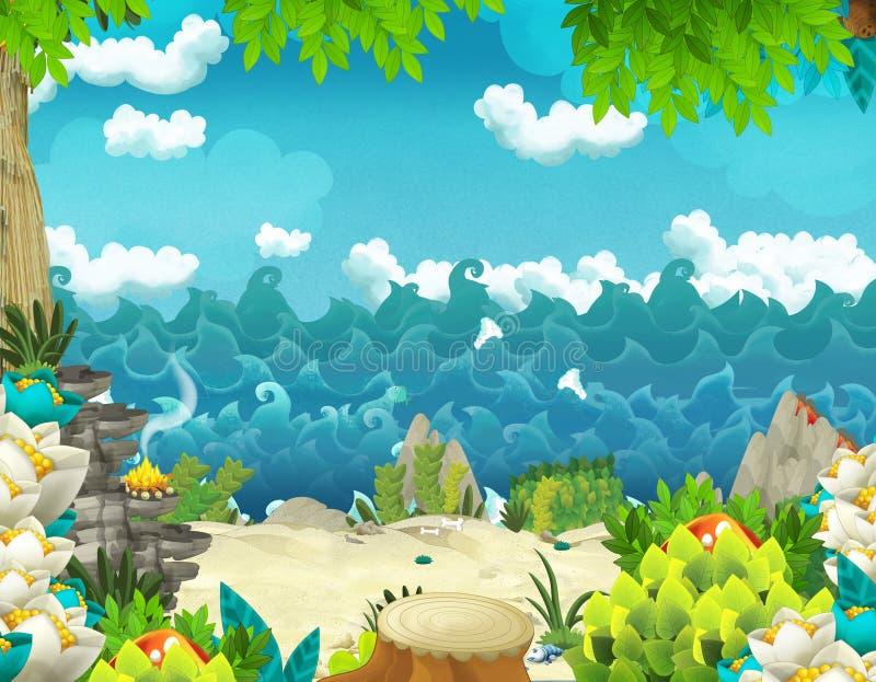 与密林和海或者海洋岸的动画片背景 库存例证