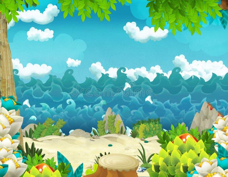 与密林和海或者海洋岸的动画片背景 皇族释放例证