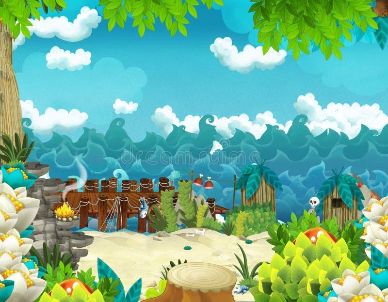 与密林和海或者海洋岸的动画片背景 向量例证