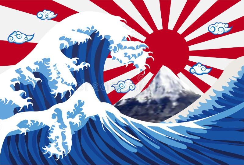 与富士山和日本旗子的海波浪 向量例证