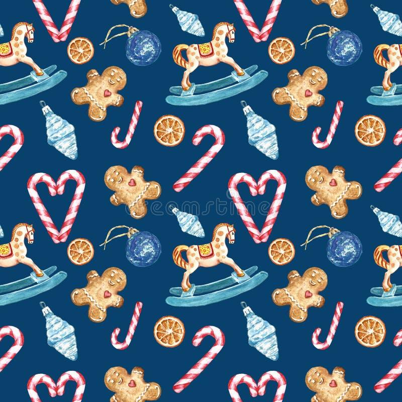 与寒假的标志的水彩圣诞节无缝的样式,姜饼曲奇饼,棒棒糖,摇马装饰品 库存图片