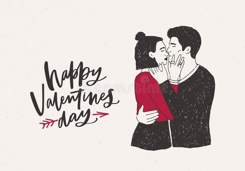 与对的贺卡模板拥抱和亲吻行家男孩和女孩或者热情的恋人和愉快的华伦泰s 皇族释放例证