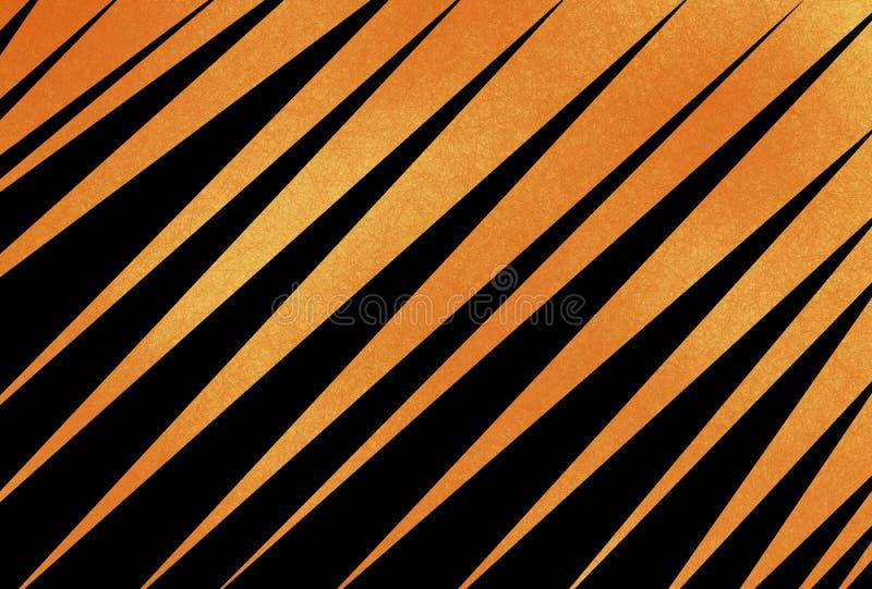 与对角或有角度的条纹和纹理的抽象黑和橙色背景 向量例证