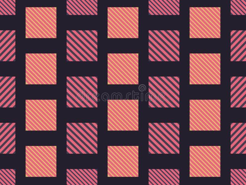 与对角条纹的方格的无缝的样式织品和打印的 向量 皇族释放例证