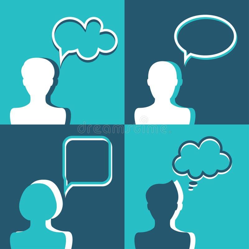与对话讲话泡影的人象 平的设计 库存例证