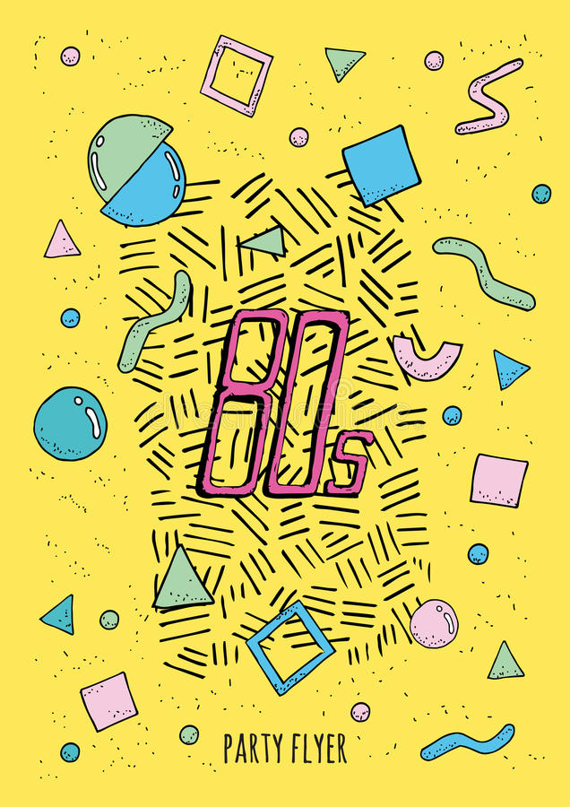 与对象几何形状的抽象海报孟菲斯样式80s 背景五颜六色时髦 皇族释放例证