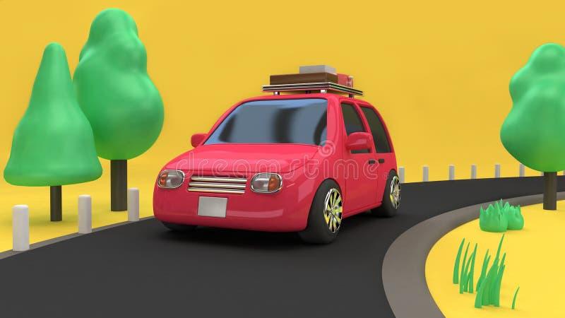与对象的Pink-red汽车环境家庭汽车样式在乡下公路和许多树自然,旅行假日概念3d翻译动画片 向量例证