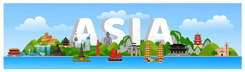 与寺庙,教会,塔,地标,吸引力,jeepney,三轮车,小船的亚洲风景 皇族释放例证