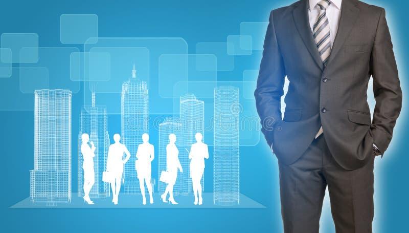 与导线框架大厦和事务的商人 库存照片