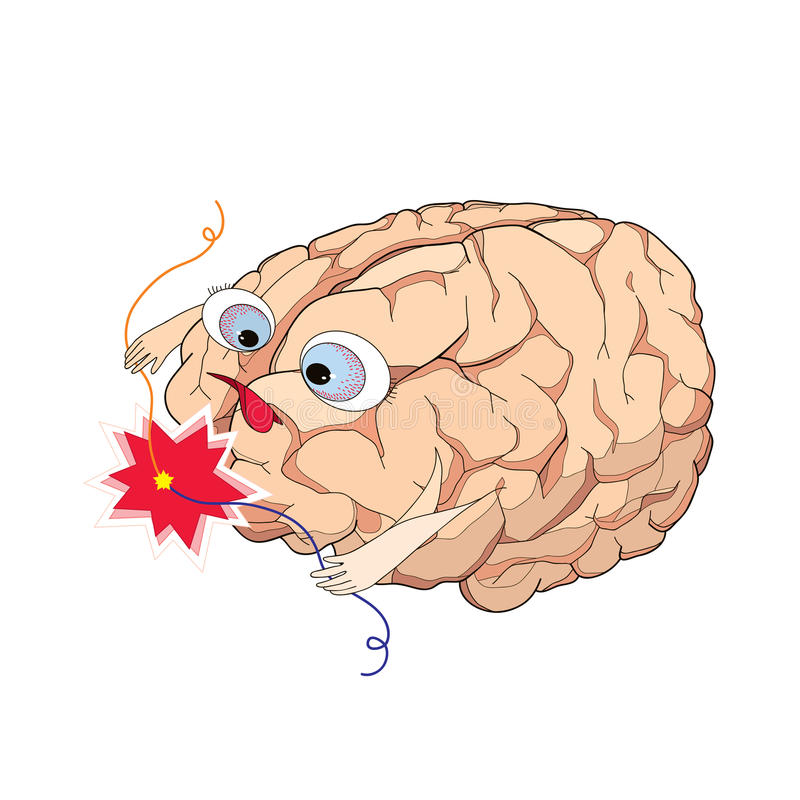 与导线短路的脑子在动画片样式 库存例证