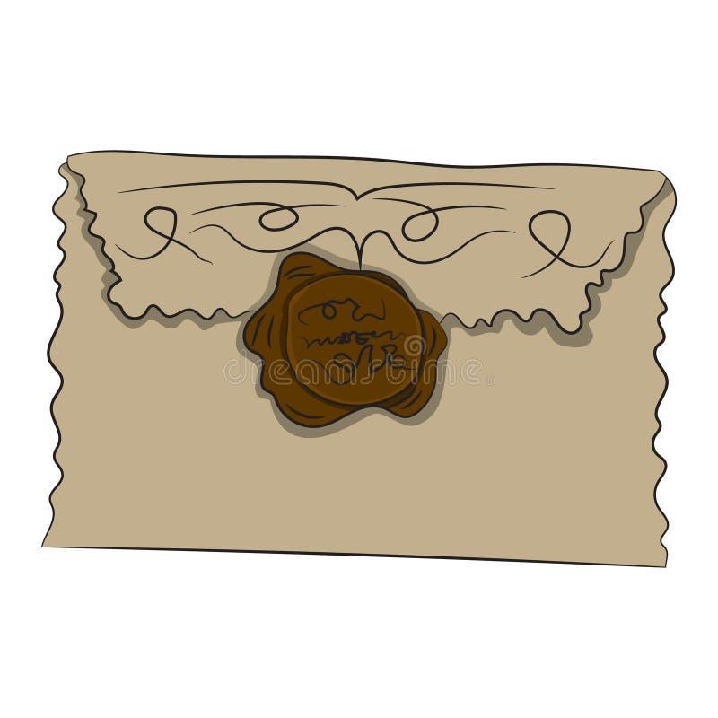 与封印的信封 也corel凹道例证向量 用手画 皇族释放例证