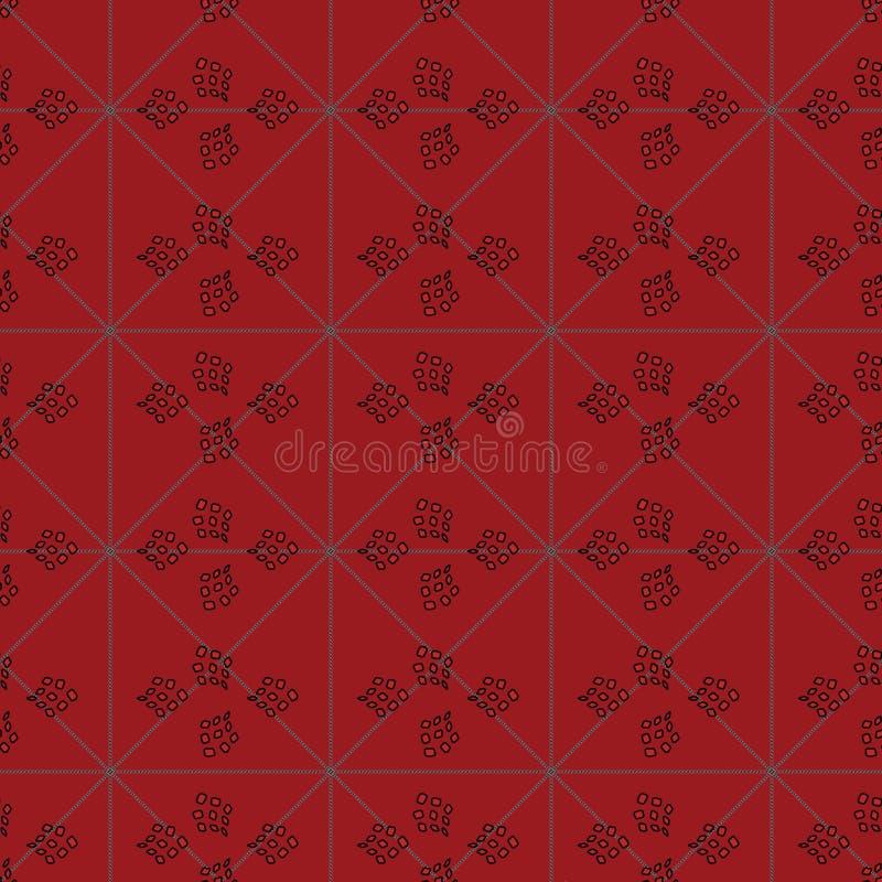 与封锁的与抽象翘曲的形状结合的三角和正方形的无缝的样式例证 皇族释放例证