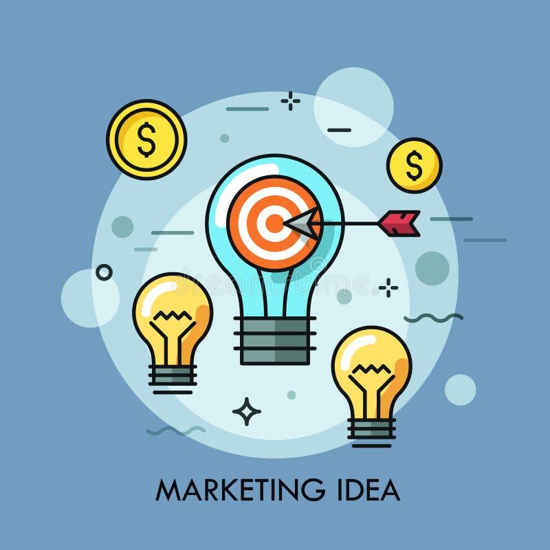 与射击目标和箭头的电灯泡在美元围拢的中心铸造 营销想法的概念促进 皇族释放例证