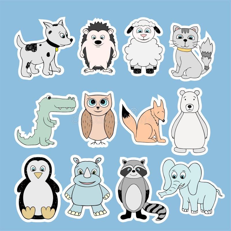 与小动物的传染媒介贴纸 动画片例证