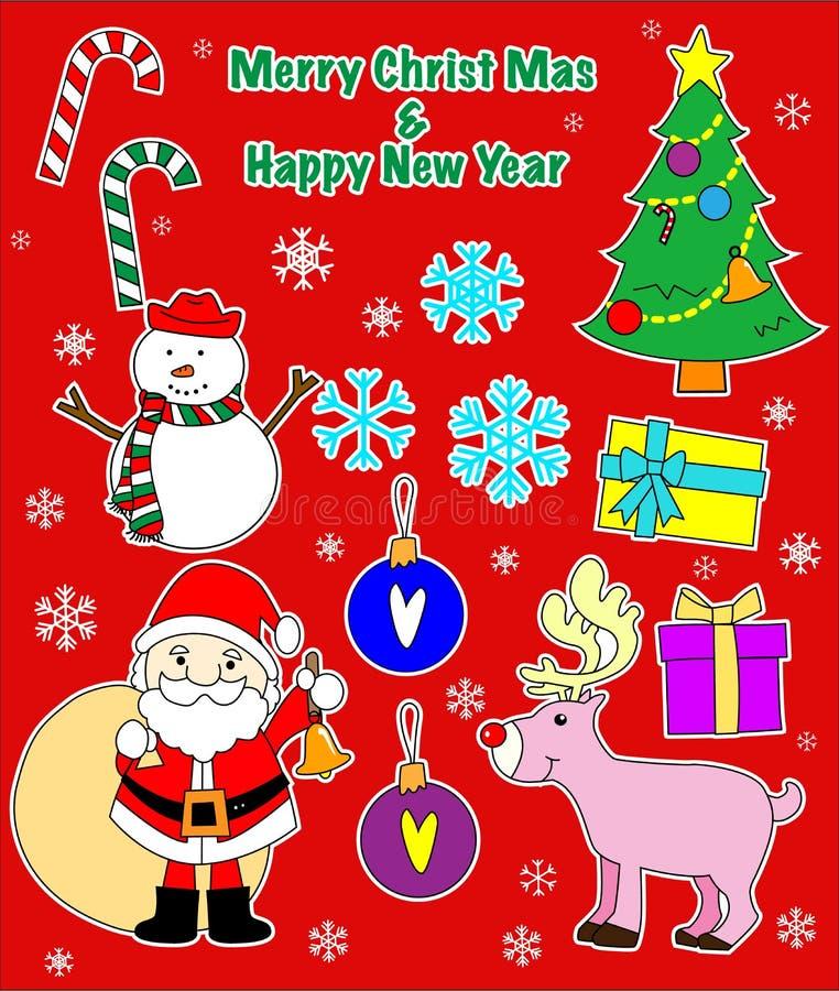 与小块样式的圣诞节装饰 免版税库存照片