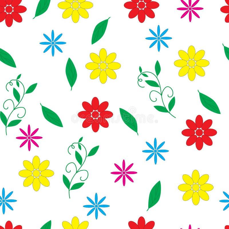 与小多彩多姿的花的无缝的花卉样式 向量例证