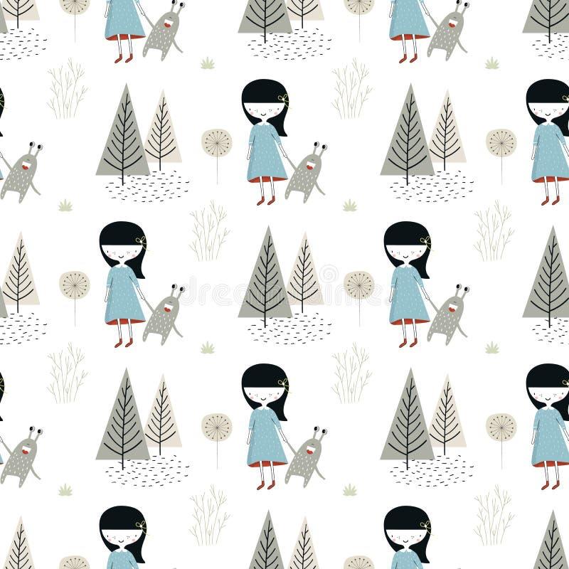 与小女孩和妖怪的逗人喜爱的手拉的无缝的样式在斯堪的纳维亚样式的森林里 向量例证