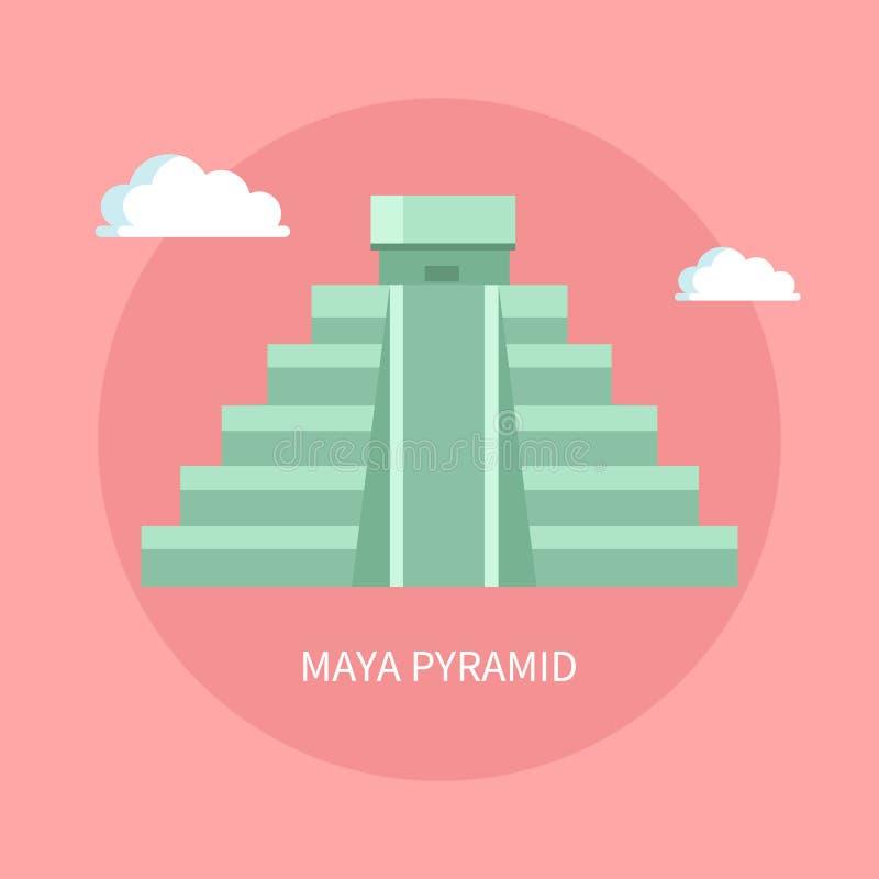 与小寺庙的古老玛雅人金字塔在上面 库存例证