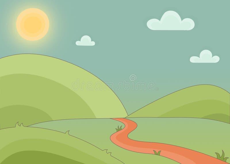与小山、小径、太阳和逗人喜爱的云彩的被画的动画片风景 神仙的风景背景例证 库存例证