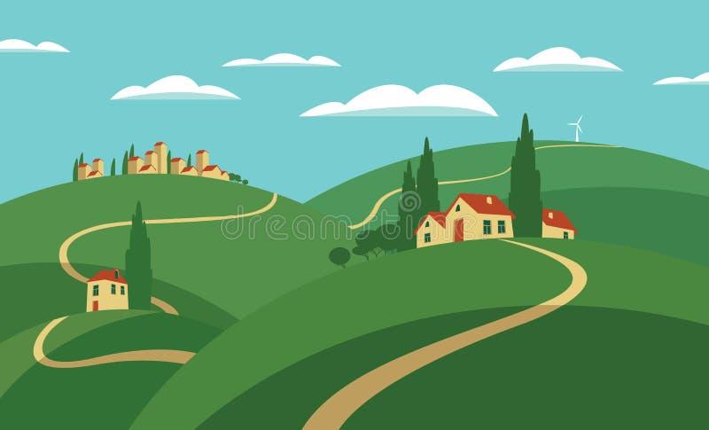 与小山、路和解决的风景 向量例证