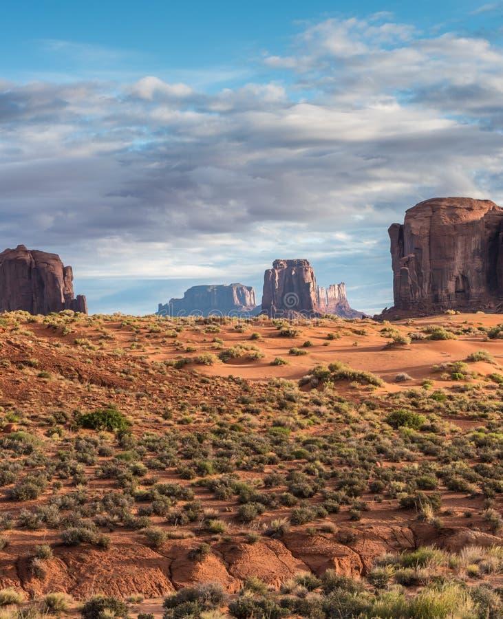 与小山的沙漠在前景的风景和mesas和仙人掌 库存图片