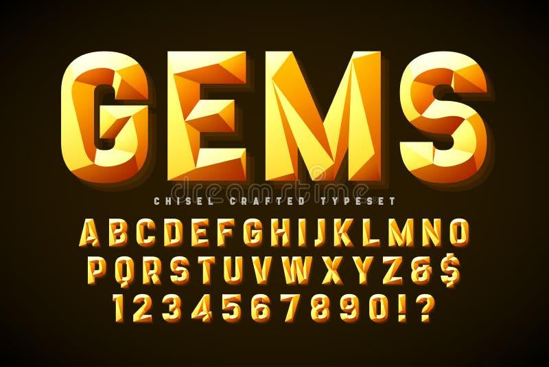 与小平面、字母表、信件和数字的水晶显示字体 库存例证