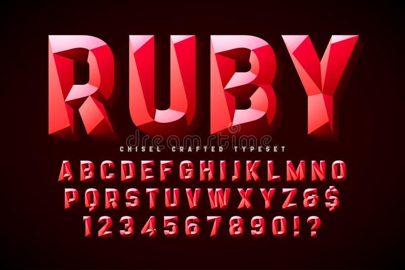 与小平面的水晶显示字体,字母表,信件 库存例证