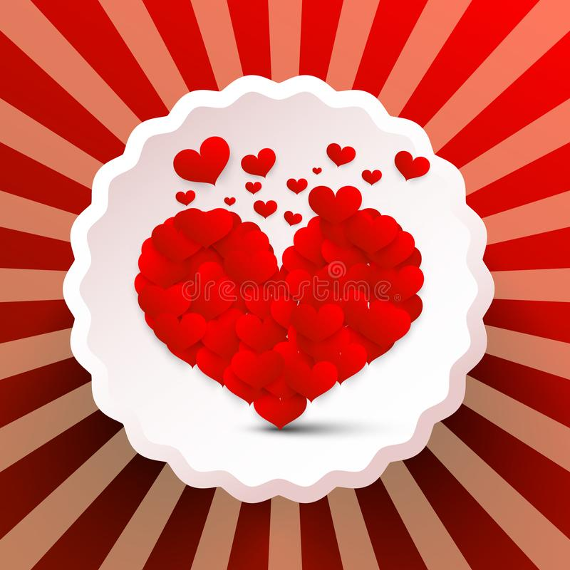 与小心脏的心脏在减速火箭的标签 库存例证