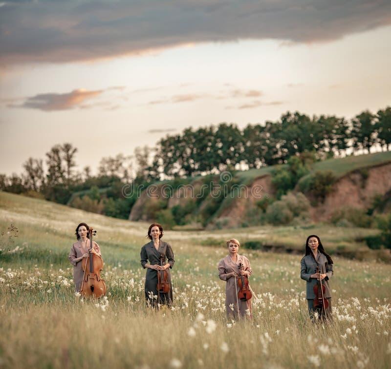 与小提琴和大提琴的女性音乐四重唱在开花的草甸站立 免版税库存图片