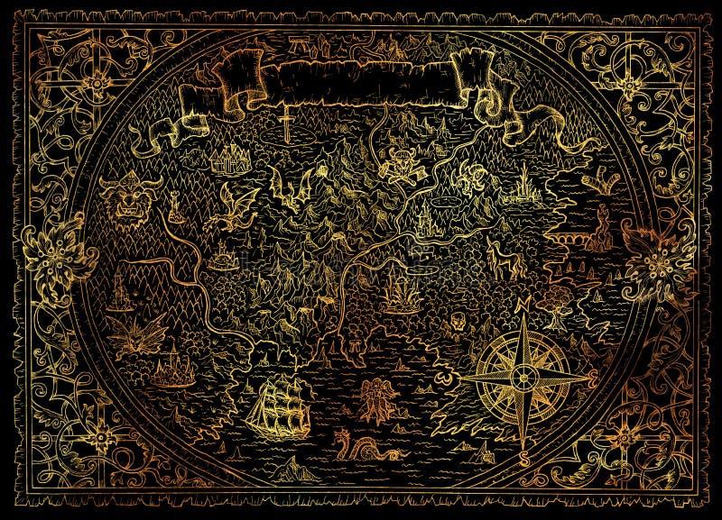 与小插图横幅,风船,指南针,维多利亚女王时代的装饰样式的老幻想地图 向量例证