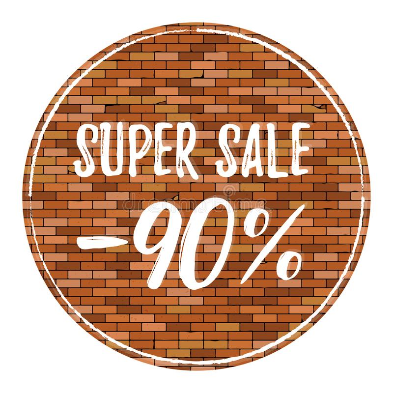 与小插图的老砖墙背景 传染媒介与超级销售90的砖墙纹理 皇族释放例证