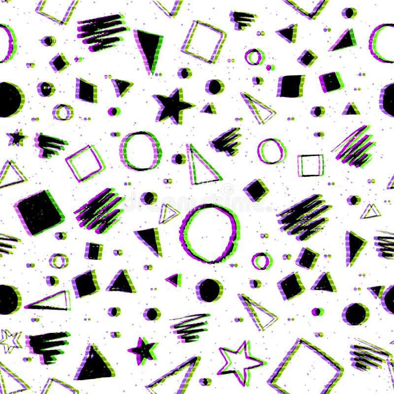 与小故障作用的无缝的几何样式 向量例证