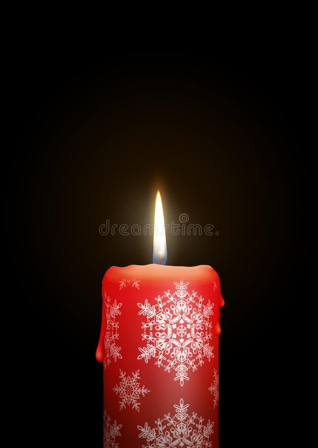 与小明星纹理的红色蜡烛在黑背景-被隔绝的C 皇族释放例证