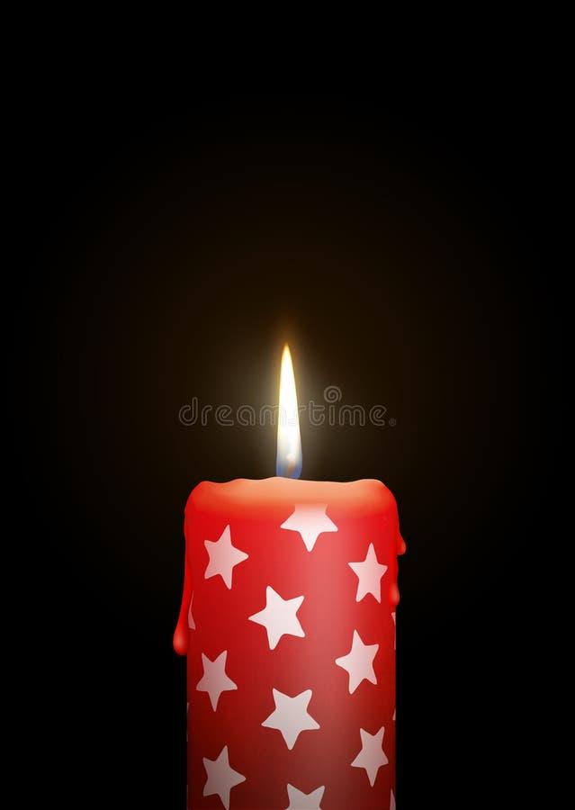 与小明星纹理的红色蜡烛在黑背景-被隔绝的C 向量例证