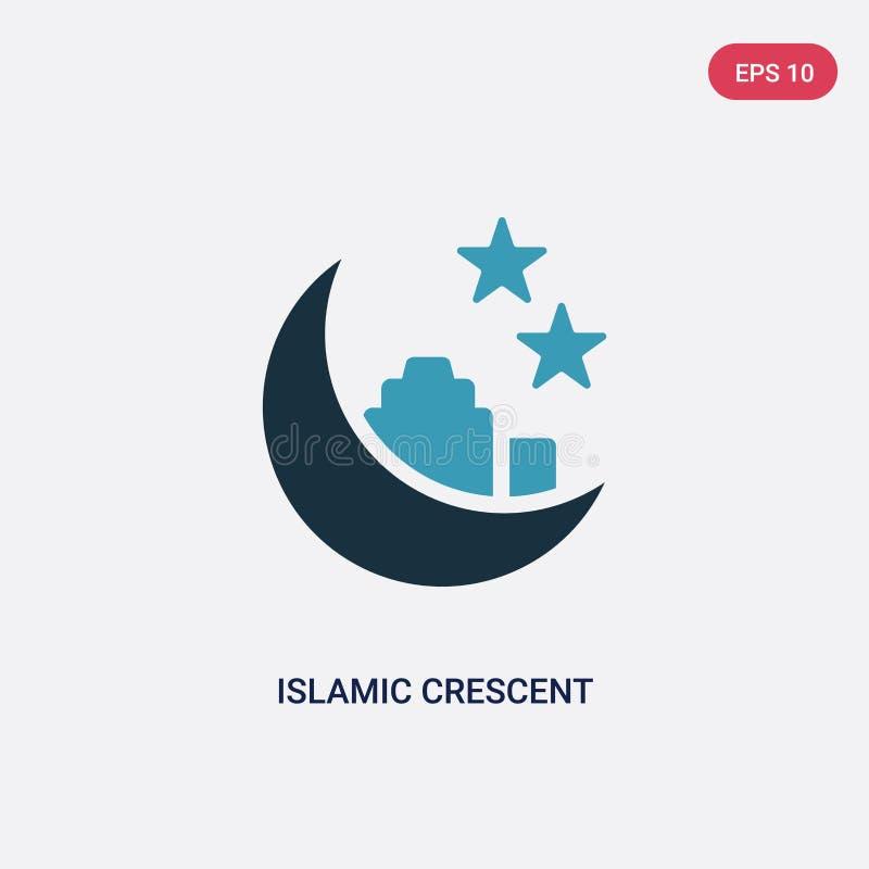 与小星传染媒介象的两种颜色的伊斯兰教的月牙从标志概念 与小星传染媒介的被隔绝的蓝色伊斯兰教的月牙 向量例证