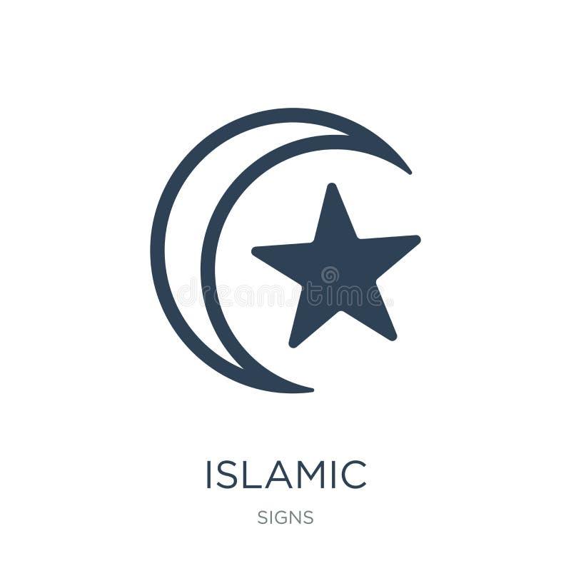 与小星象的伊斯兰教的月牙在时髦设计样式 与在白色背景隔绝的小星象的伊斯兰教的月牙 库存例证
