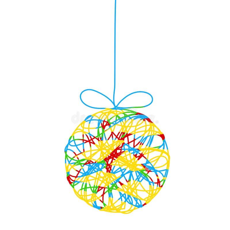 与小条的五颜六色的装饰圣诞树球您的设计的,储蓄传染媒介例证 库存例证