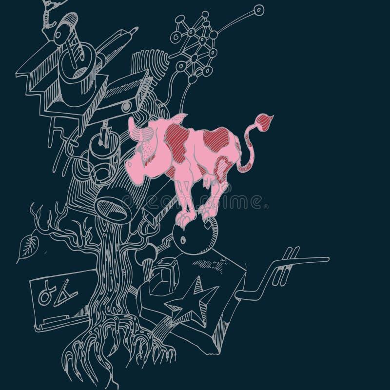 与小母牛的马拉松式节目绘画 皇族释放例证