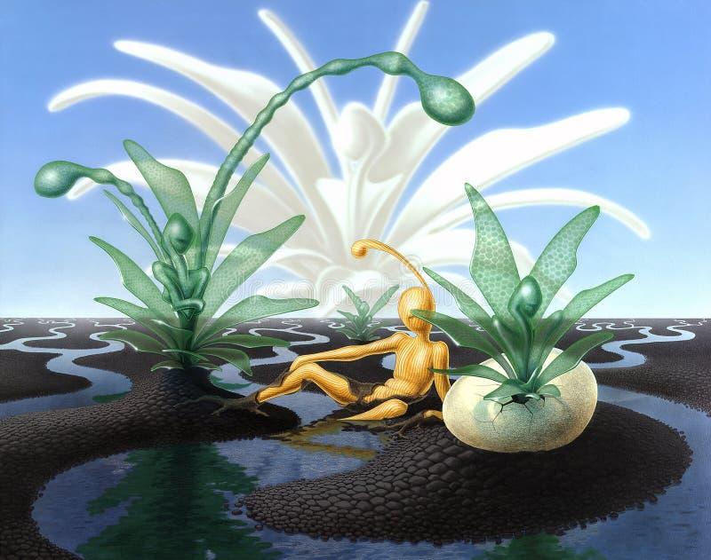 与小河和透亮植物的超现实的风景 库存例证
