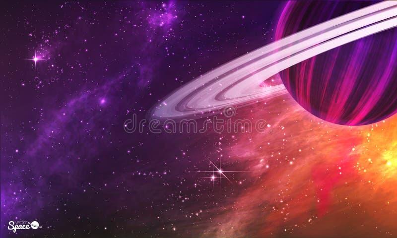 与小游星地带的象土星的行星在五颜六色的外层空间背景 也corel凹道例证向量 向量例证