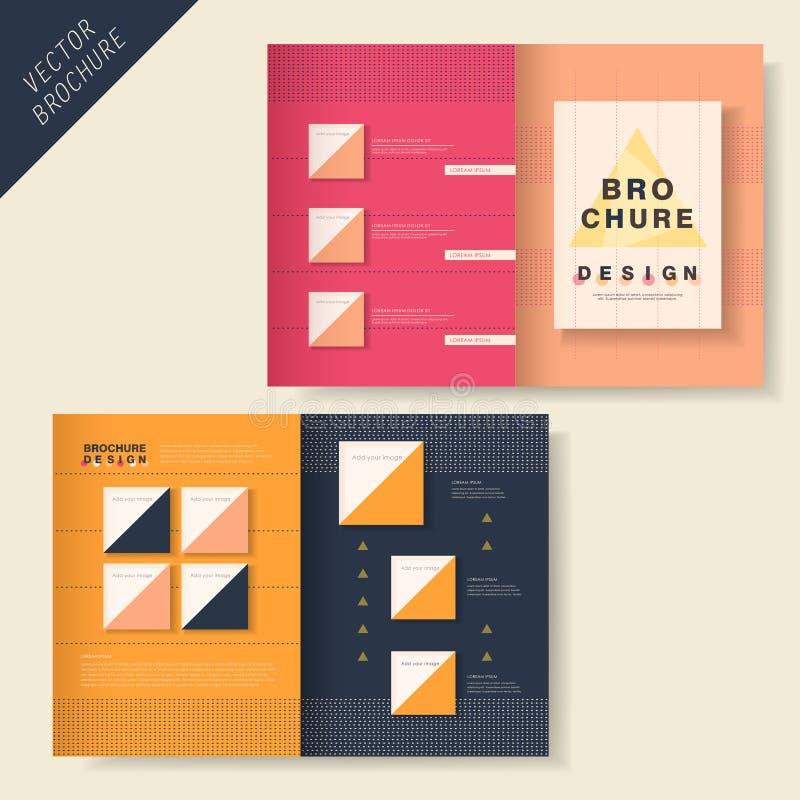 与小点元素的小册子设计 向量例证