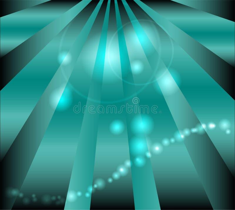 与小点光和光芒的深蓝背景 库存例证