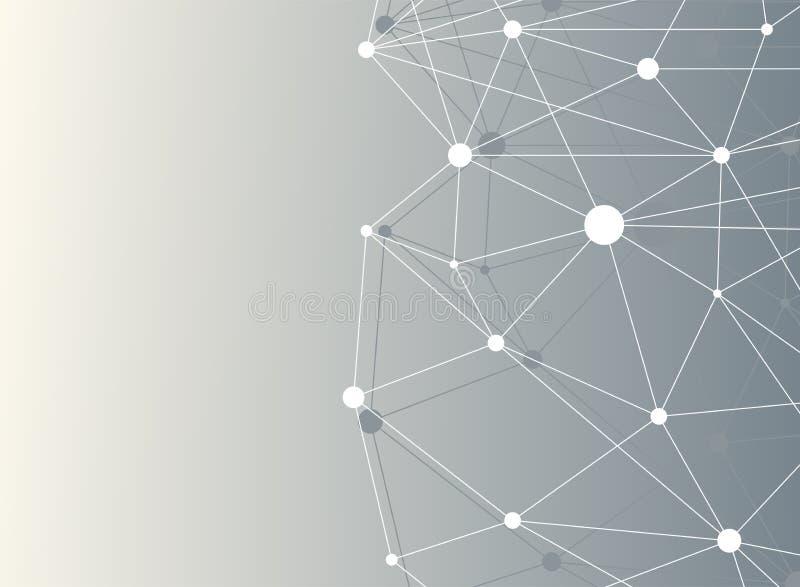 与小点列阵和线的几何抽象背景 与化合物的大数据复合体 连接结构 库存例证