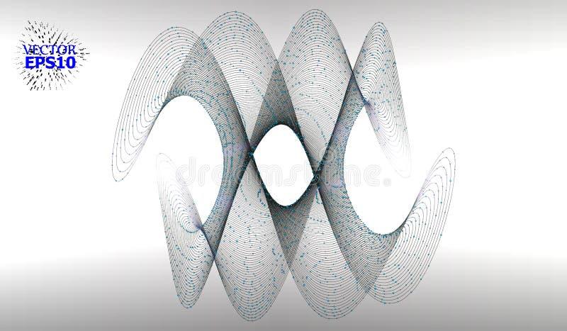 与小点列阵和线的抽象背景 连接结构 几何现代技术概念 数字资料Visualiza 向量例证