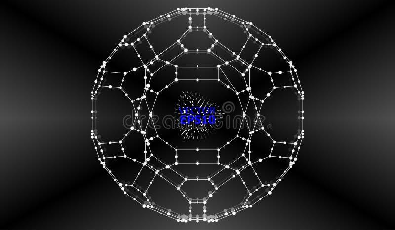 与小点列阵和线的抽象背景 连接结构 库存例证