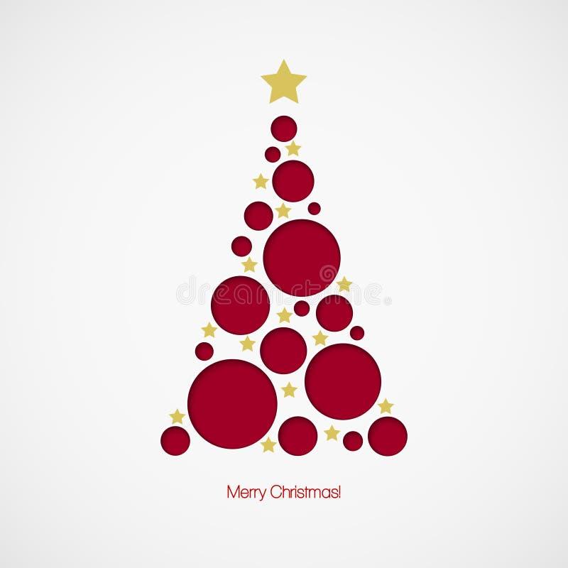 与小点和星的圣诞树在白色 皇族释放例证