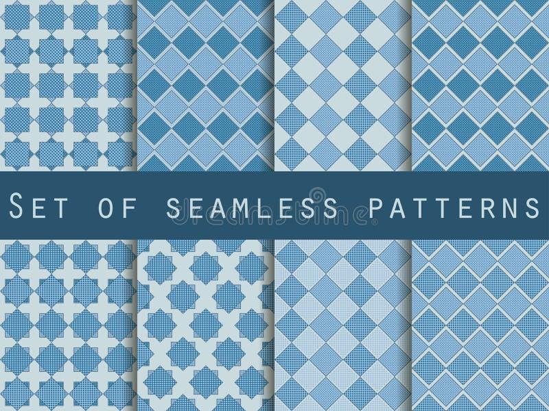 与小点和条纹的无缝的方格的样式 背景被设置的向量 皇族释放例证