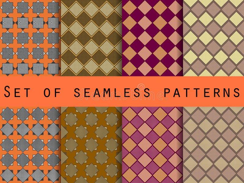 与小点和条纹的无缝的方格的样式 库存例证